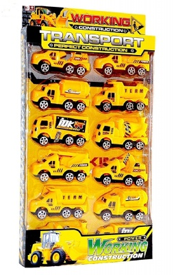 JCB Working Construction Pretend Play Toy , Working Construction Truck Unbreakable JCB Construction Truck Toys for Kids - 12 Pcs