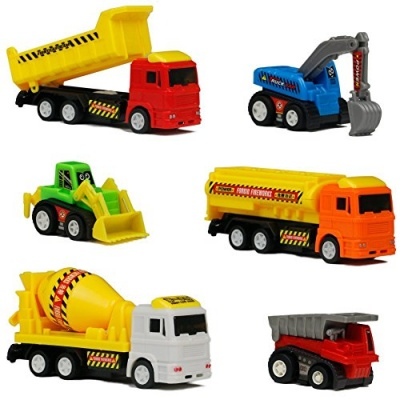 6pcs Micro Construction Team Vehicles Cute Fantastic Car Toys Model for Toddlers(Color Vary)