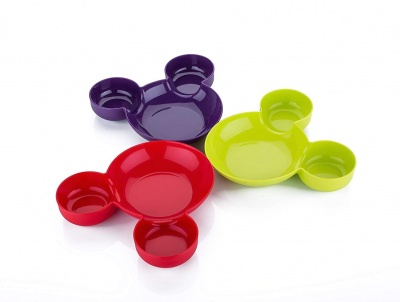 Unbreakable Plastic Mickey Shaped Kids/Snack Serving Plate (Assorted Colors) 3 pcs