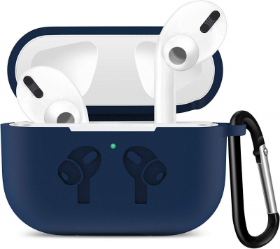 Soft Silicone Full Protective Shockproof Cover with Keychain Set Compatible with Apple AirPods Pro 3rd Gen - Blue