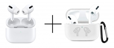 Apple AirPods Pro-White and Case Soft Silicone Full Protective Shockproof Cover Set-White