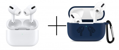 AirPods Pro-White and Case Soft Silicone Full Protective Shockproof Cover Set-Blue
