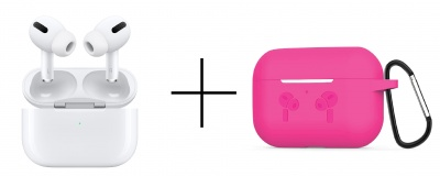 AirPods Pro-White and Case Soft Silicone Full Protective Shockproof Cover Set-Pink