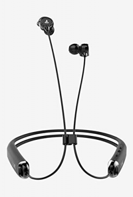 BOAT QS 325 Flexible Dual Pairing Wireless Neckband with Card Slot & Mic. (Black)