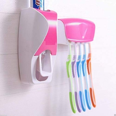 Automatic Toothpaste Dispenser with 5 Toothbrush Holder Set PTFE (Non-Stick) Toothbrush Holder