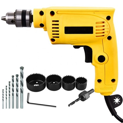 10mm drill machine variable speed with 5Pcs Hss Bit , 6Pcs Hole Saw Cutter Bits (10 mm, 300W-400 watt, 2600RPM, Color-Multi, Material- Plastic, Pack of 11)