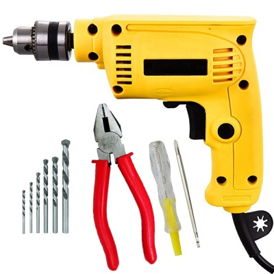 10mm drill machine variable speed with 5Pcs Hss Bit ,2 in 1 Line tester, Plier (10 mm, 300W-400 watt, 2600RPM, Color-Multi, Material- Plastic, Pack of 8)