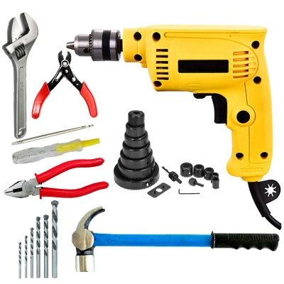 10mm drill machine variable speed with 5Pcs Hss Bit , Line tester, Plier, Wire cutter, Wrench, Hammer, 16Pcs Hole Saw Bits (10 mm, 300W-400 watt, 2600RPM, Color-Multi, Material- Plastic, Pack of 27)