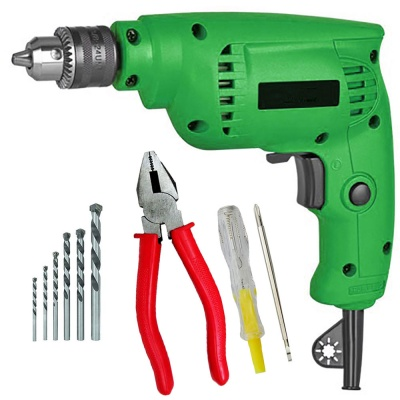 10mm variable speed drill machine with 5Pcs Hss Bit ,2 in 1 Line tester, Plier (10 mm, 300W-400 watt, 2600RPM, Color-Multi, Material- Plastic, Pack of 8)