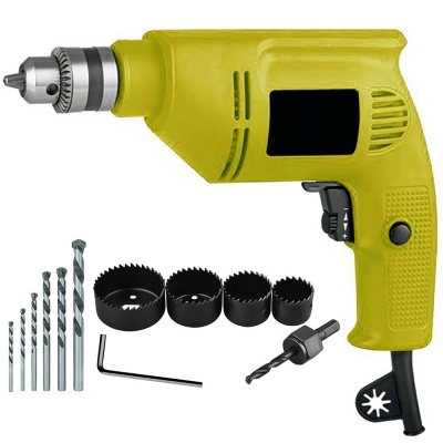 drill machine for home use 10mm with 5Pcs Hss Bit , 6Pcs Hole Saw Cutter Bits (10 mm, 300W-400 watt, 2600RPM, Color-Multi, Material- Plastic, Pack of 11)