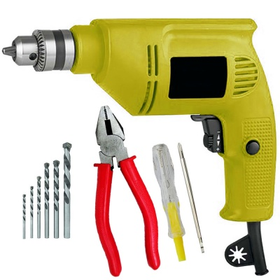 drill machine for home use 10mm with 5Pcs Hss Bit ,2 in 1 Line tester, Plier (10 mm, 300W-400 watt, 2600RPM, Color-Multi, Material- Plastic, Pack of 8)