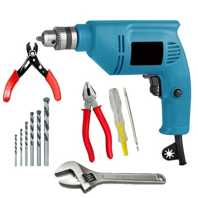 drill machine 230V 10mm pistol grip with 5Pcs Hss Bit ,2 in 1 Line tester, Plier, Wire cutter, Wrench (10 mm, 300W-400 watt, 2600RPM, Color-Multi, Material- Plastic, Pack of 10)