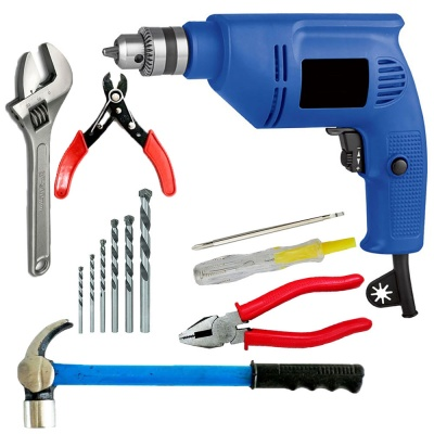 variable speed drill machine 300W with 5Pcs Hss Bit ,2 in 1 Line tester, Plier, Wire cutter, Wrench, Hammer (10 mm, 300W-400 watt, 2600RPM, Color-Multi, Material- Plastic, Pack of 11)