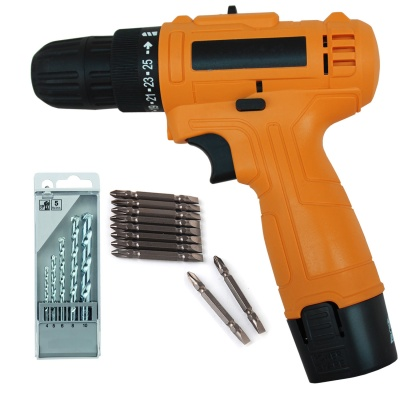 Cordless Electric Drill machine 12V mini 10mm Electric Screwdriver with 5pcs Masonry Drill Bit Set and PH2(+/-) 10pcs Bits  (Color-Multi, Material- Plastic,Size -compact)