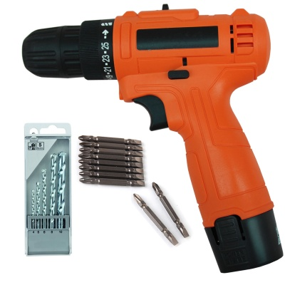 cordless 12v Electric screwdriver machine 10mm multipurpose Auto Car Drill Adapter with PH2(+/-) 10pcs Bits and 5 pcs Hss drill bit set (Color-Multi, Material- Plastic,Size -compact)
