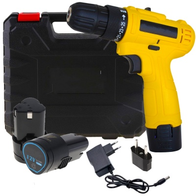 Cordless Screwdriver Drill Machine (10 mm Left/Right, 12v with 2 Batteries) 2 speed LED Torch Variable Speed & Torque Setting (24+1) wireless drill for multi use (10mm/12v/1350Rpm/Multicolor/Plastic)