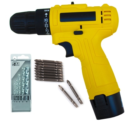 Cordless Screwdriver Drill Machine (10 mm Left/Right, 12v with 2 Batteries) PH2(+/-) 10pcs Bits and 5 pcs Hss drill bit set (Color-Multi, Material- Plastic,Size -compact)