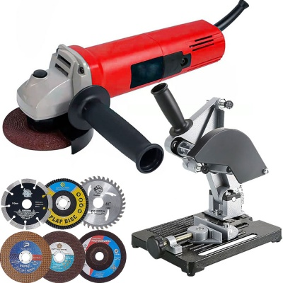 Multi use 850W 11000Rpm 4-inch powerfull mini angle grinder machine with Angle Grinder Fixed Stand & Angle Griding Wheel 6 Pieces Discs Combo Set (4 Inches, 850W, 11000 Rpm, 220V 50Hz, Color-Multi)