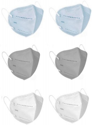 N95 with Filter Face Mask, Anti-Pollution & Anti Virus Breathable Face Mask With Melt Blown Fabric Layer N95G2W2B2 Reusable, Washable  (Blue, Grey, White, Free Size, Pack of 6)