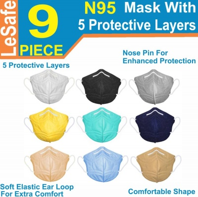 N95 mask reusable washable mask with nose pin Combo mask N95 mask reusable N95 mask washable for Men Women Kids  (Multicolor, Free Size, Pack of 9)